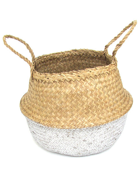 Seagrass Belly Basket, Dipped Silver, Medium