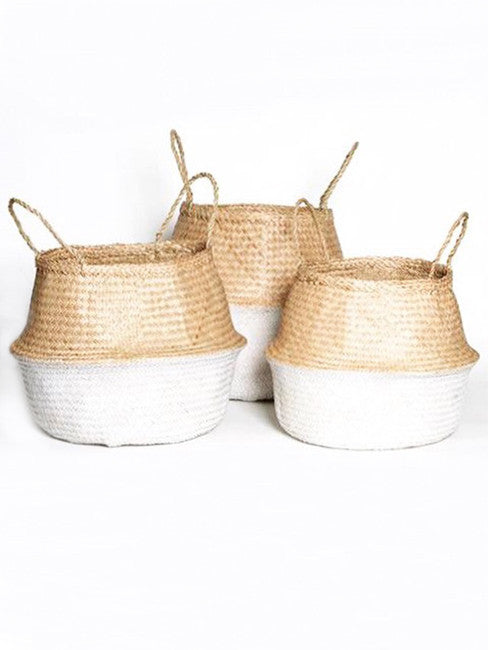 Seagrass Belly Basket Set, Dipped White