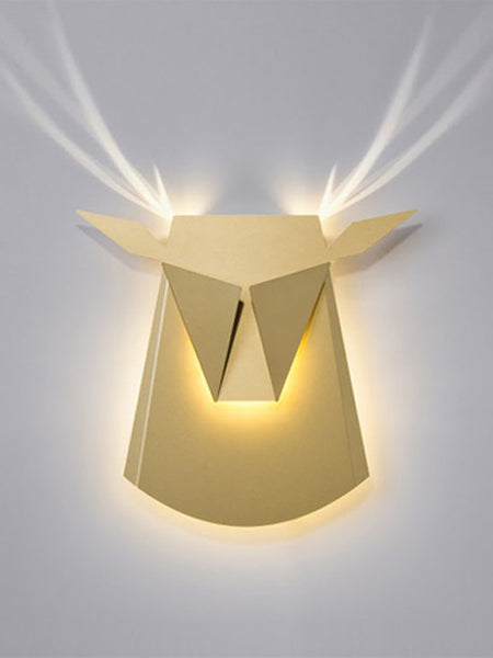 Gold Aluminium Deer Head LED Wall Light