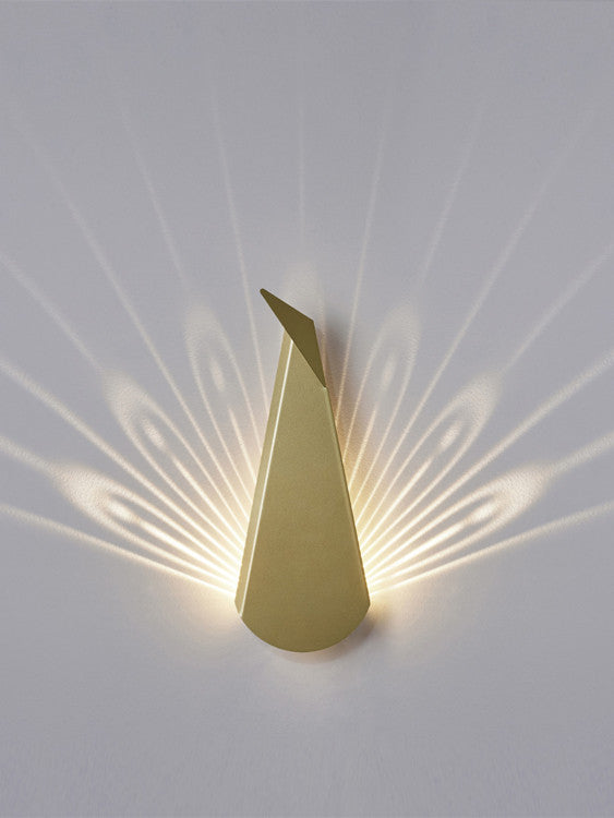 Gold Aluminium Peacock LED Wall Light
