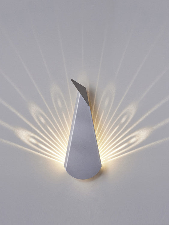 Silver Aluminium Peacock LED Wall Light