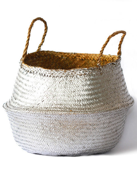 Seagrass Belly Basket, Metallic Silver, Large