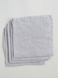 Set of 4 100% Linen Napkins, Silver Grey