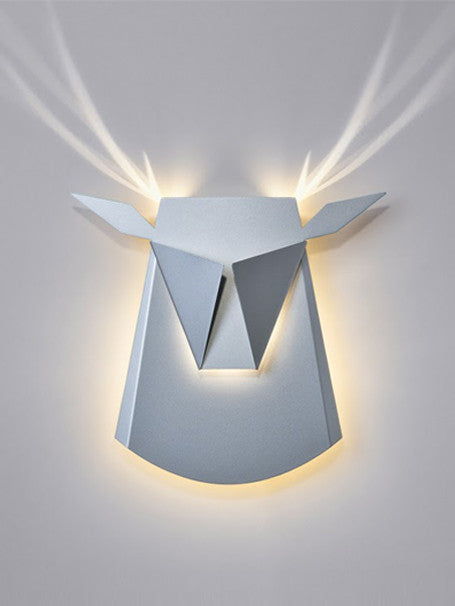 Silver Aluminium Deer Head LED Wall Light