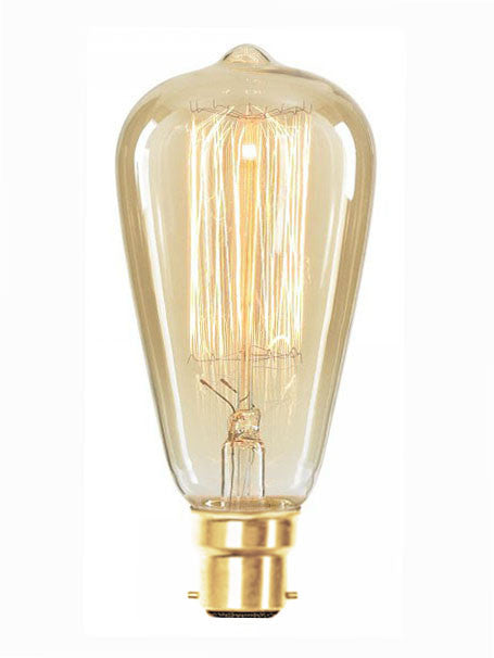 Vintage Tear Drop Squirrel Cage Filament ST64 Light Bulb, Bayonet B22, 40w