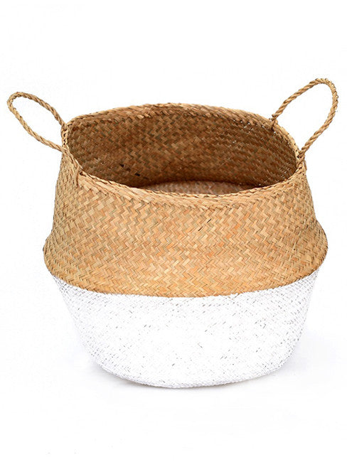 Seagrass Belly Basket, Dipped White, Medium