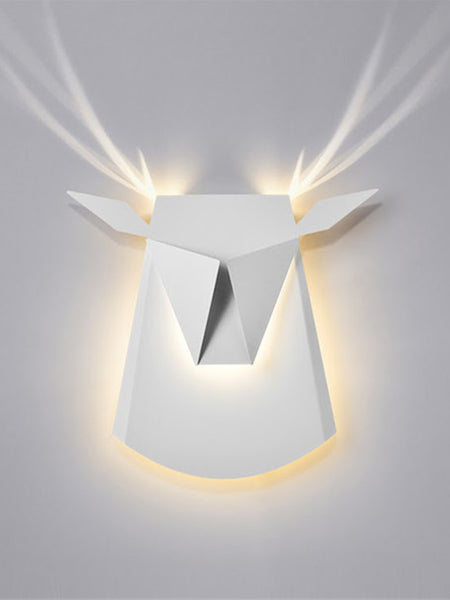 White Aluminium Deer Head LED Wall Light