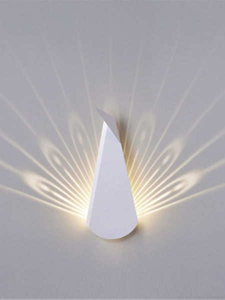 White Aluminium Peacock LED Wall Light