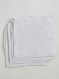 Set of 4 100% Linen Napkins, White