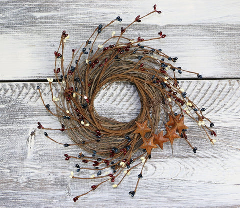 "Pip Berry & Rusty Star Wreath/Candle Ring, 12"" - Patriotic Mix"