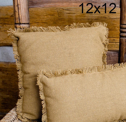 Deluxe Burlap Natural Tan Pillow - 12x12""