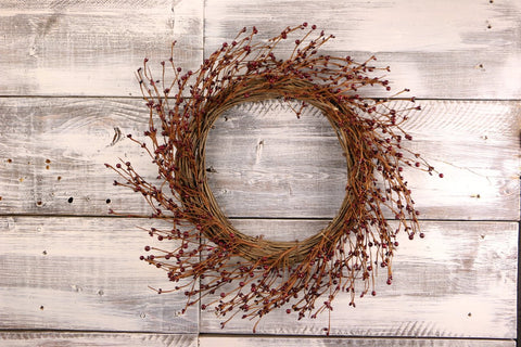 "Primitive Pip & Berry Wreath, 22"" - Burgundy"