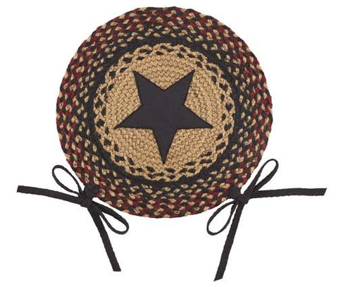 "Blackberry Star 15"" Braided Chair Pad - Set of 2"