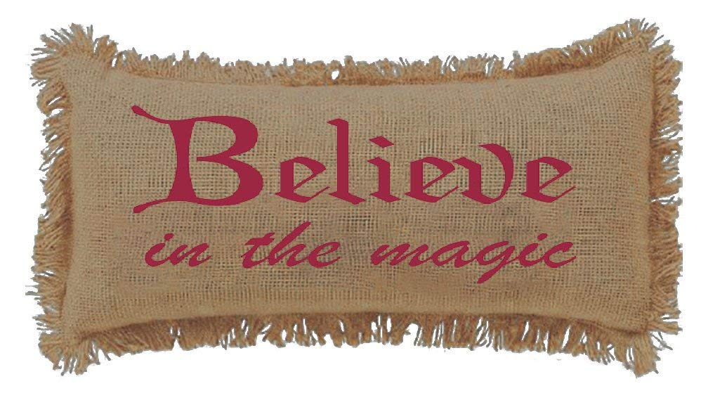 Burlap Natural Believe In The Magic Throw Pillow