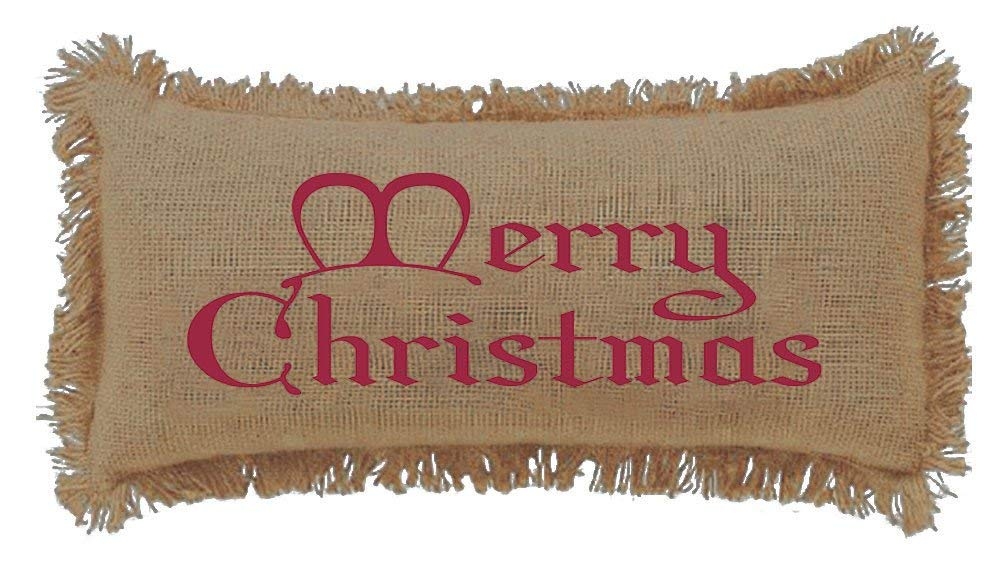 Burlap Natural Merry Christmas Throw Pillow