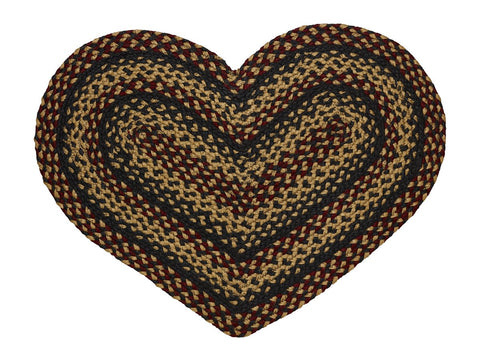 Blackberry Braided Heart Rug