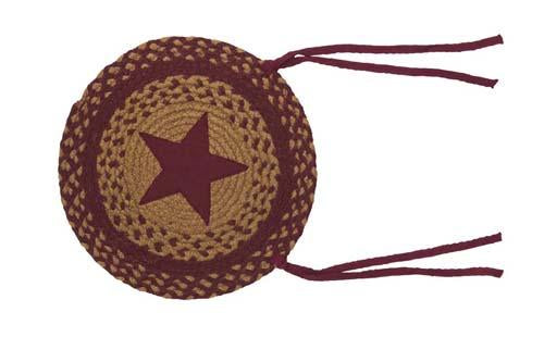 Star Wine Braided Chair Pad - Set of 2
