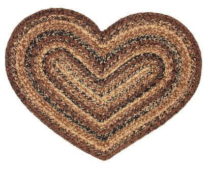 Cappuccino Braided Heart Rug