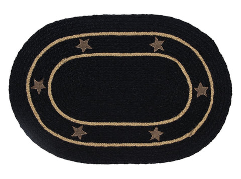 Burlap Star Black Braided Oval Rug - 22in. x 72in.