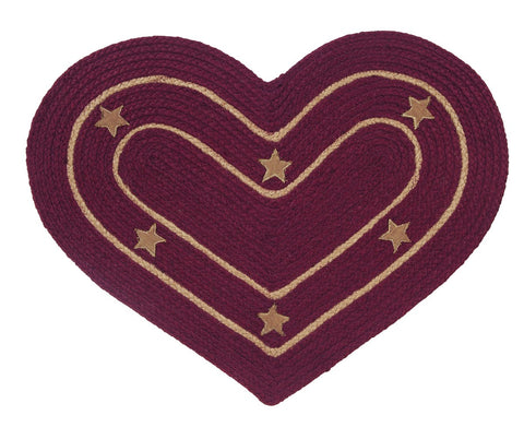 Burlap Star Wine Braided Heart Rug