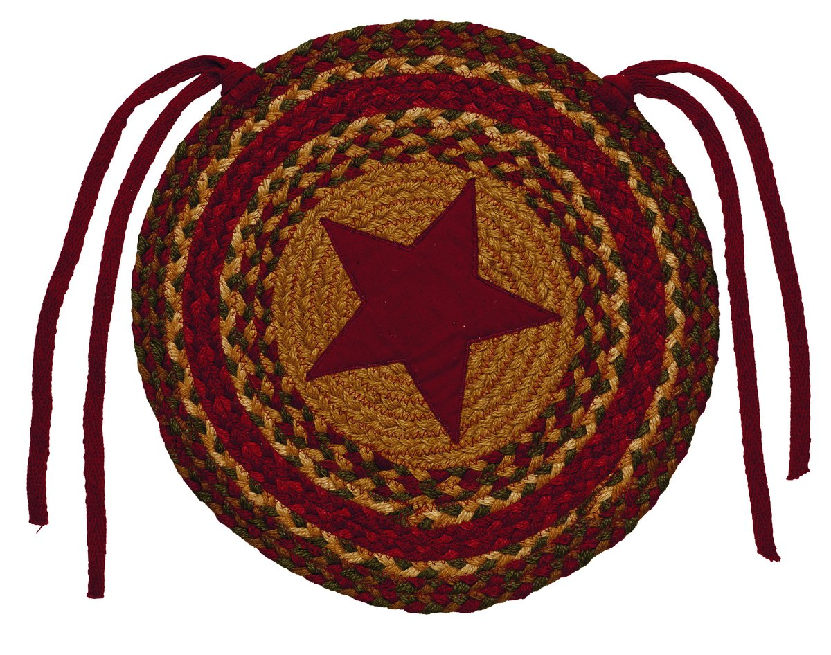 Cinnamon star braided chair pad set of 2
