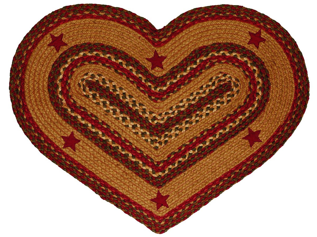 Cinnamon Star Braided Heart Rug