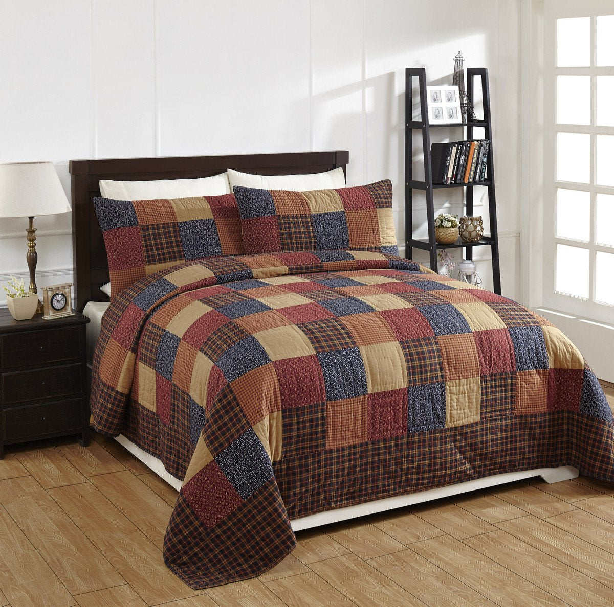 """4 Piece QUEEN /""""BRADFORD STAR/"""" Quilted Bedding SET ~ Country Primitive***NEW"""