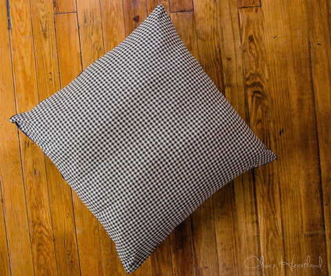 Black and Tan Checkered Fabric Euro Sham
