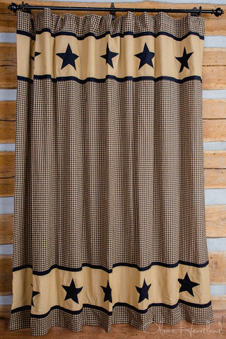 Black and Tan Star Shower Curtain