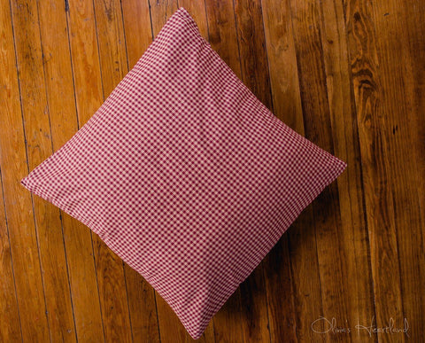 Burgundy and Tan Checkered Fabric Euro Sham