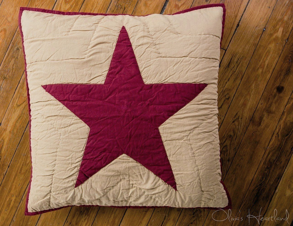 Burgundy and Tan Quilted Star Euro Sham
