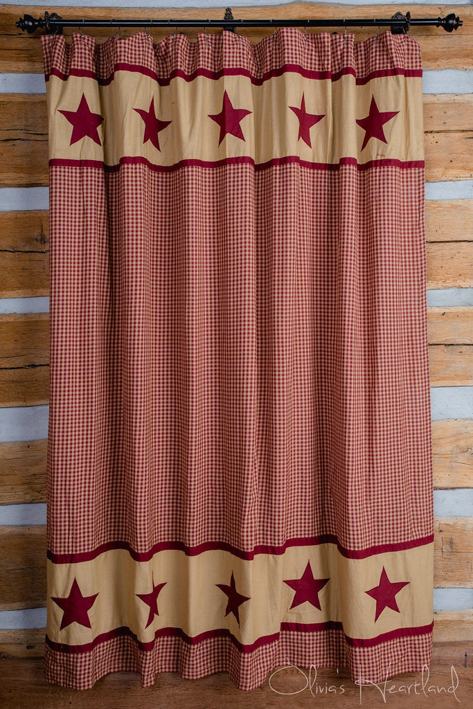 Burgundy and Tan Star Shower Curtain