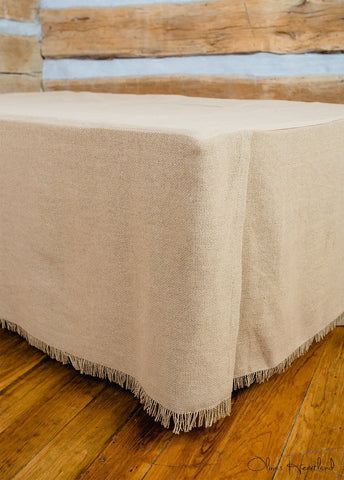 Deluxe Burlap Natural Tan Queen Bed Skirt