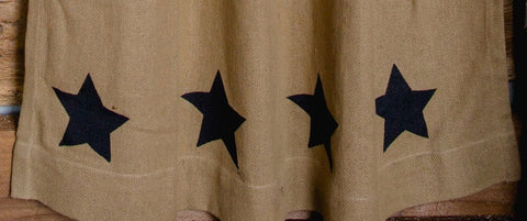 Deluxe Burlap Natural Tan Stencil Star Short Panel