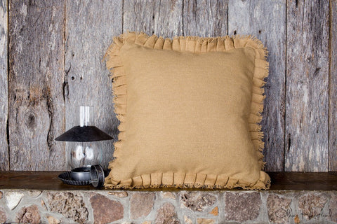 Deluxe Burlap Natural Tan Pillow Cover - 16x16""