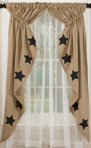 Deluxe Burlap Natural Tan Stencil Star Prairie Curtain