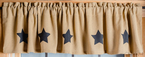 Deluxe Burlap Natural Tan Stencil Star Valance
