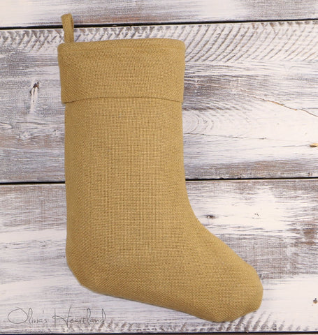 Deluxe Burlap Natural Tan Christmas Stocking (1)