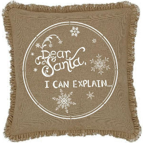 Burlap Natural Dear Santa I Can Explain Ruffled Pillow Cover