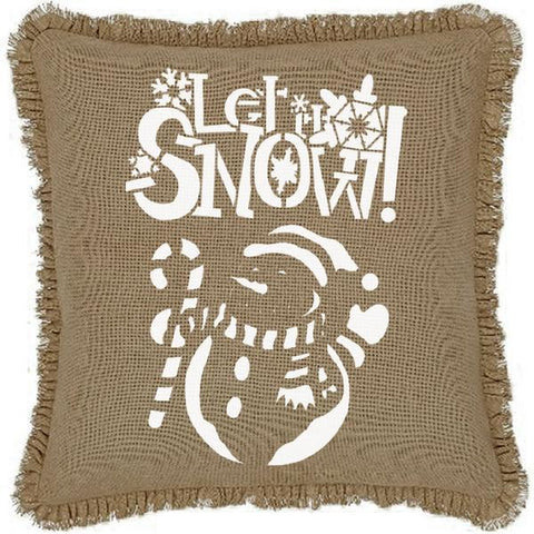 Burlap Natural Let It Snow Snowman Ruffled Pillow Cover