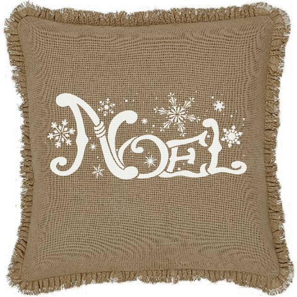 "16x16"" Burlap Natural Noel Throw Pillow Cover"