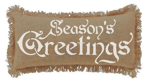 "7x13"" Burlap Natural Season's Greetings Throw Pillow"
