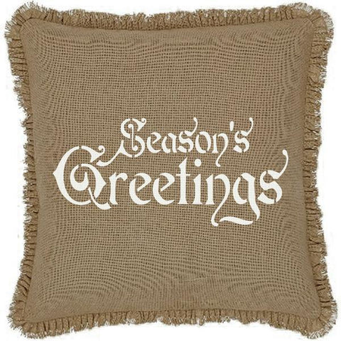 "16x16"" Burlap Natural Season's Greetings Throw Pillow Cover"