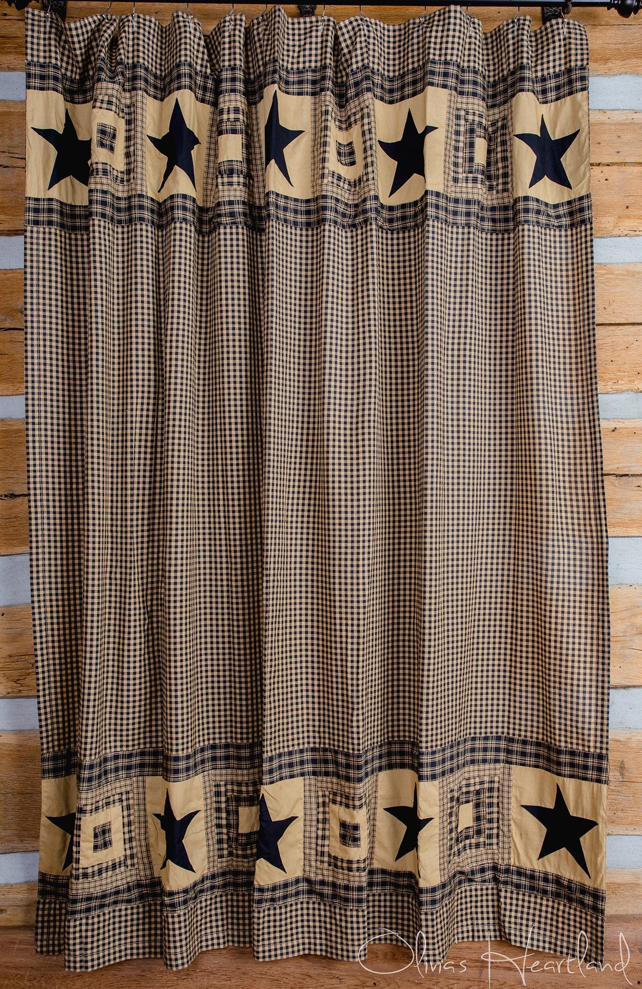 Colonial Star Black And Tan Shower Curtain