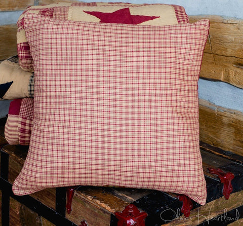 Colonial Star Burgundy and Tan Fabric Checkered Pillow Cover
