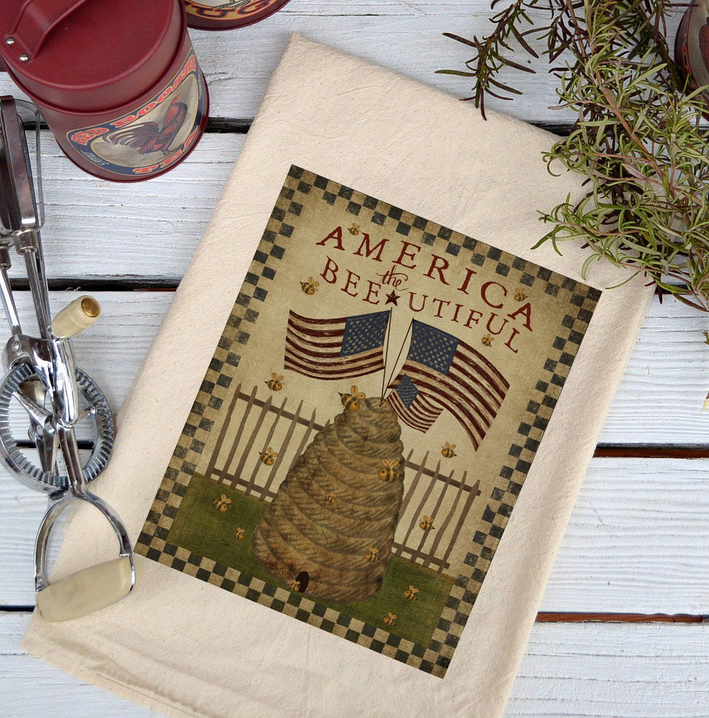 Farmhouse Natural Flour Sack America the Bee-utiful Country Kitchen Towel