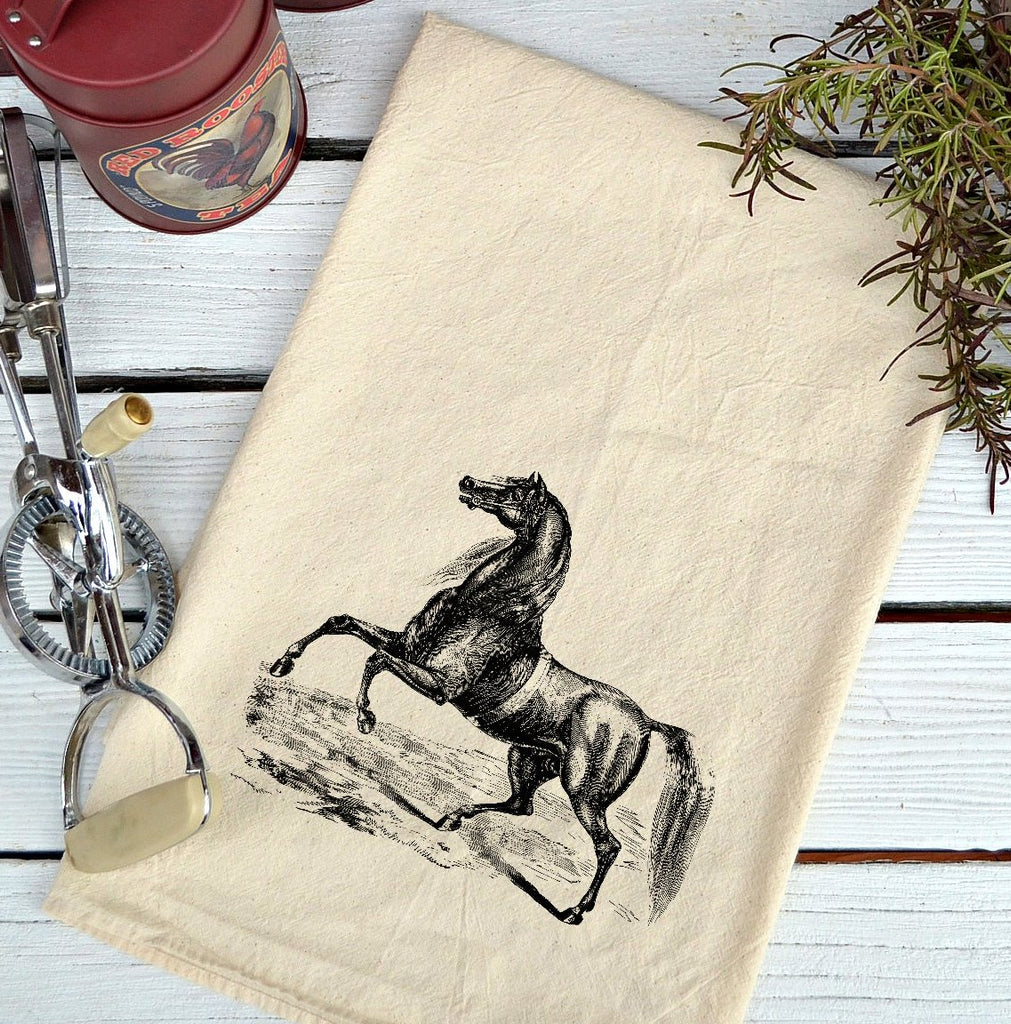 Farmhouse Natural Flour Sack Arabian Horse Country Kitchen Towel