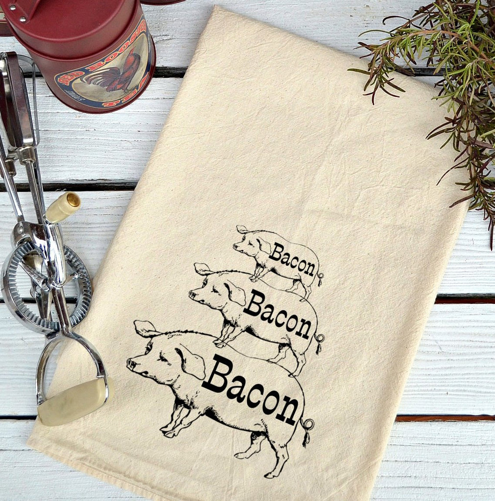 Farmhouse Natural Flour Sack Bacon Pig Stack Country Kitchen Towel