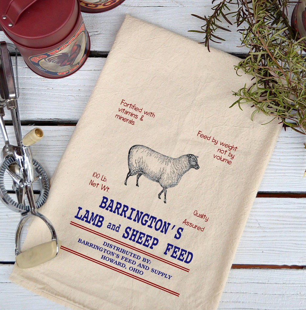 Farmhouse Natural Flour Sack Barrington's Lamb and Sheep Feed Country Kitchen Towel
