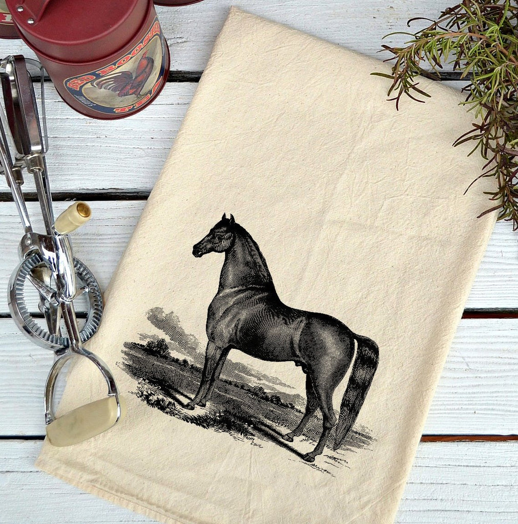 Farmhouse Natural Flour Sack Black Stallion Country Kitchen Towel